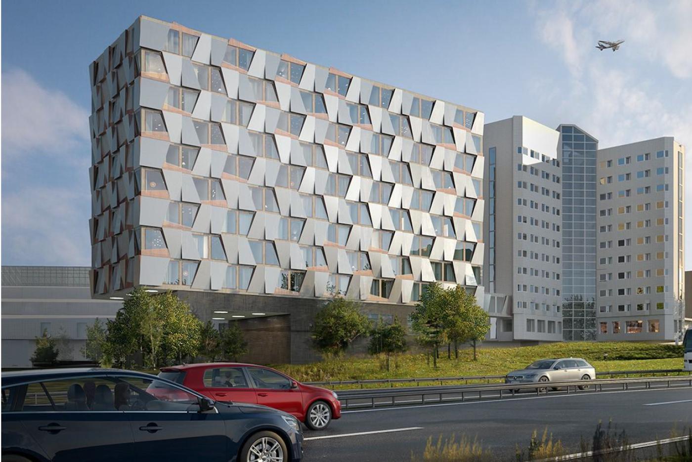 Arkitektbild av hur nya Quality Hotel Arlanda XPO ska se ut när modulmontaget av hotellmodulerna och hela den övriga byggnation är färdigt sommaren 2020.